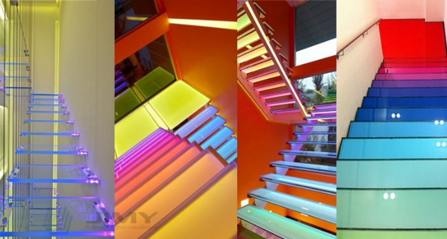indoor decoration laminated color glass stair treads
