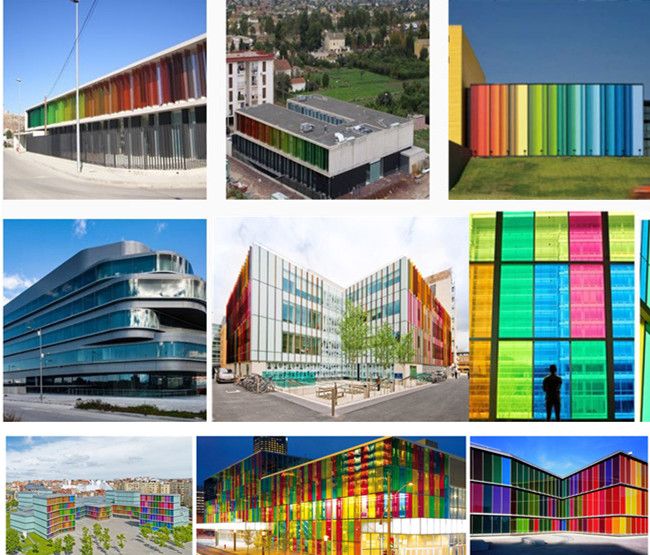 colored U channel glass facade projects