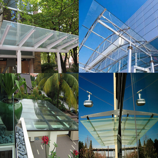 8mm 10mm 12mm flat tempered glass canopy