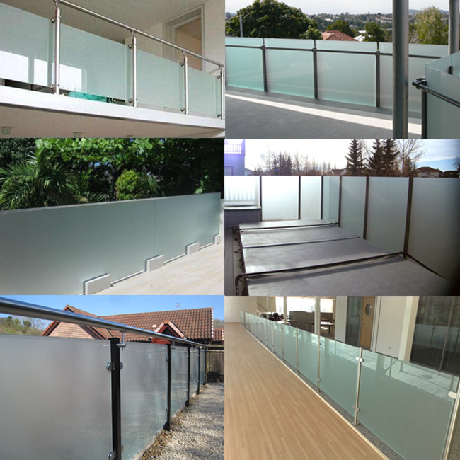 opaque white tempered laminated glass balustrade