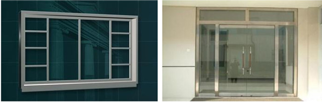 tempered glass door and glass window