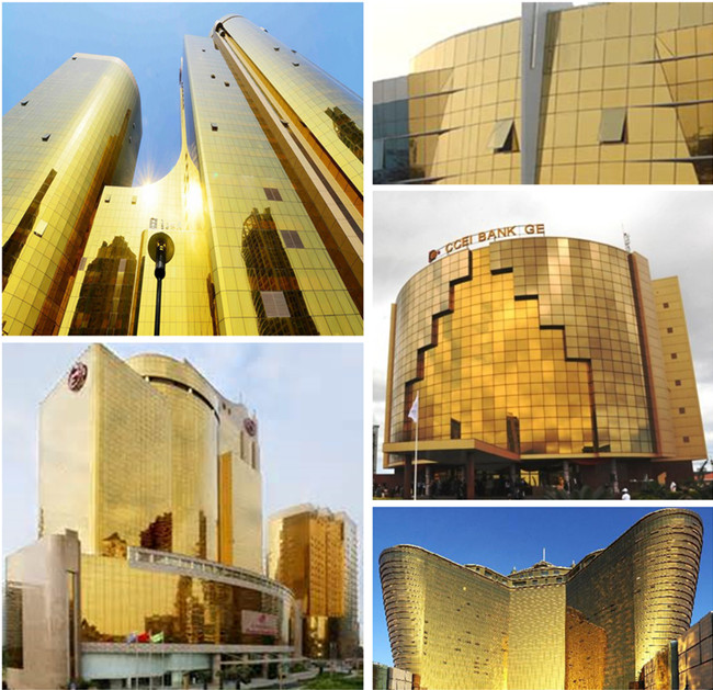 Golden reflective laminated glass curtain wall