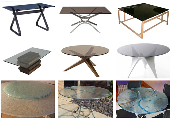 Different glass table tops