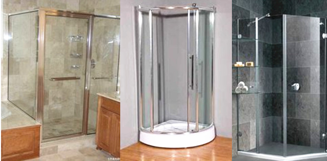 Flat and curved safety glass shower screen