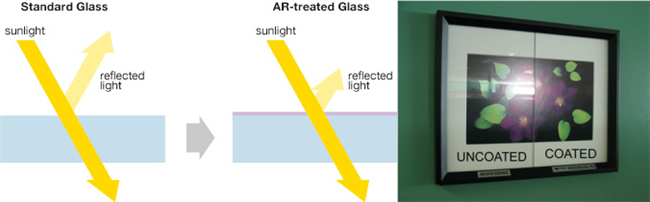 clear float glass and anti-reflective glass