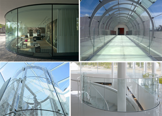 curved tempered glass for wall, railing, roof