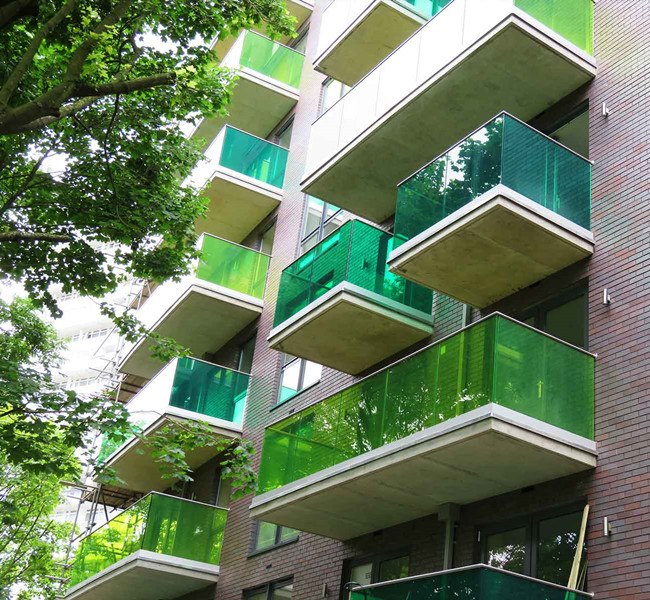 green colored tempered laminated glass balconies