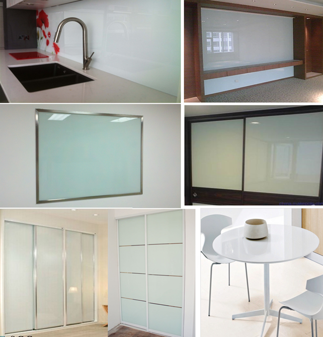 white Lacquered glass application