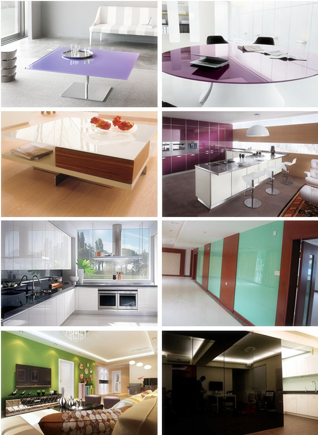 lacquer glass for kitchen and wall