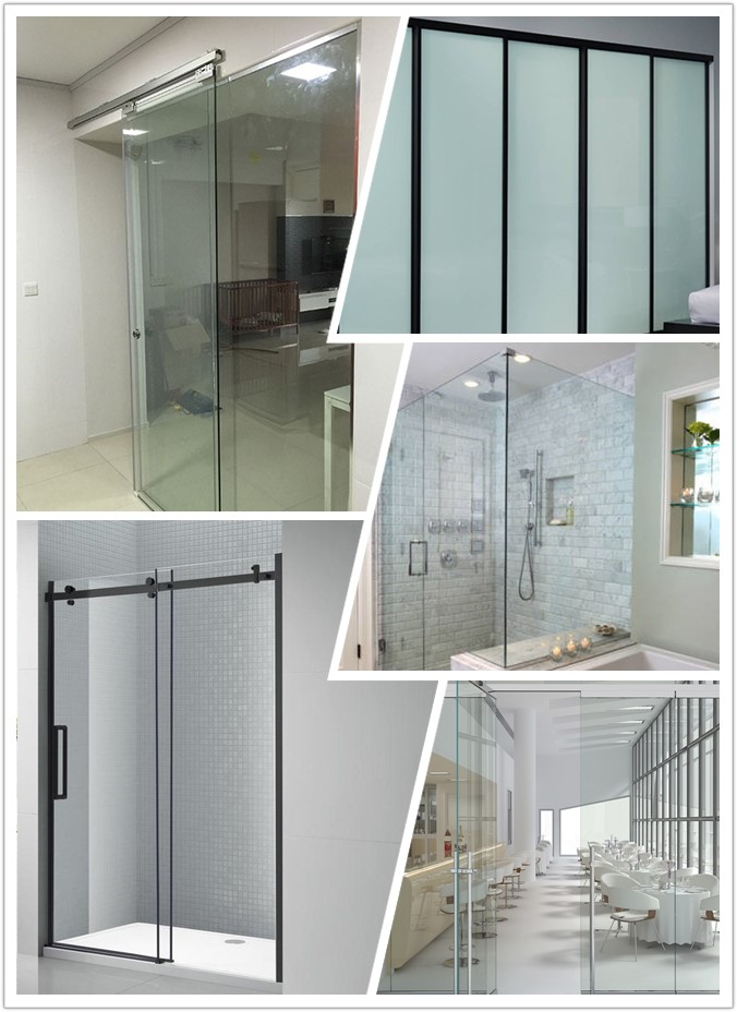 China factory 3/8 tempered glass door, 1/2 clear tempered glass, tempered glass for door