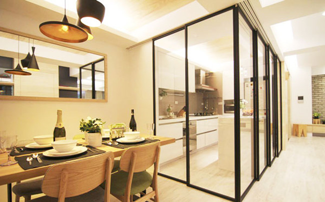 tempered glass kitchen partition wall