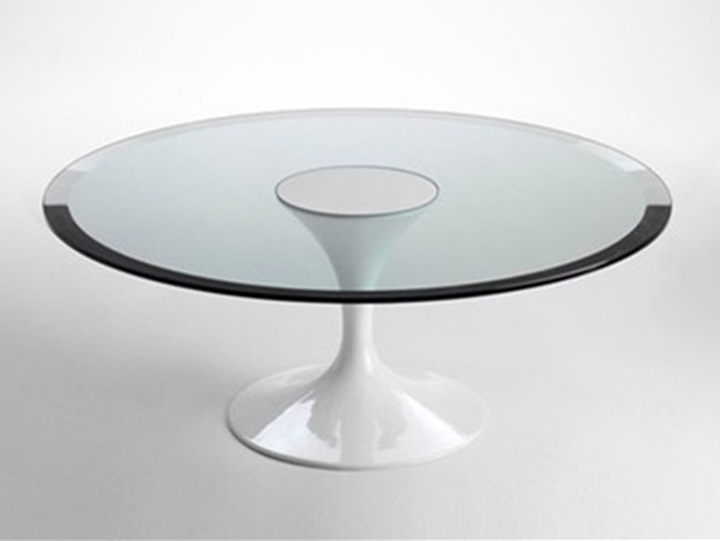 8mm Clear Round Tempered Glass Top With Bevel Edge