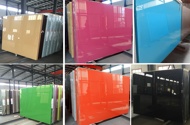different colored lacquered glass
