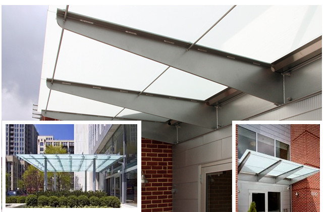 Opaque laminated glass canopy