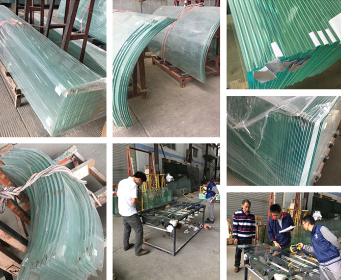 flat and curved ultra clear low iron laminated glass