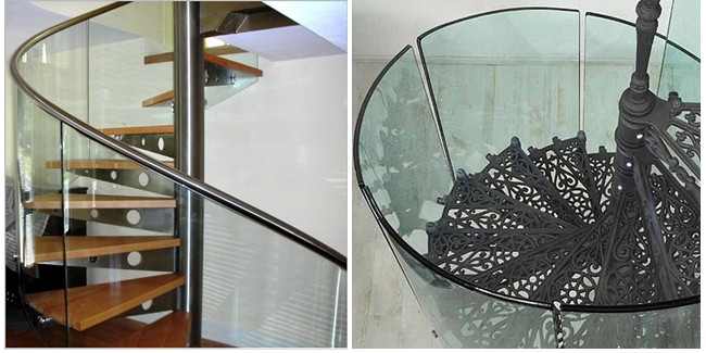 curve safety glass railing
