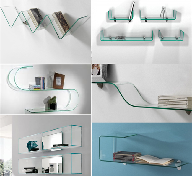 5mm curved glass shelf
