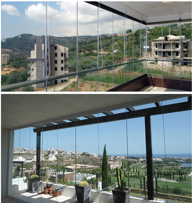 cover balcony glass curtains