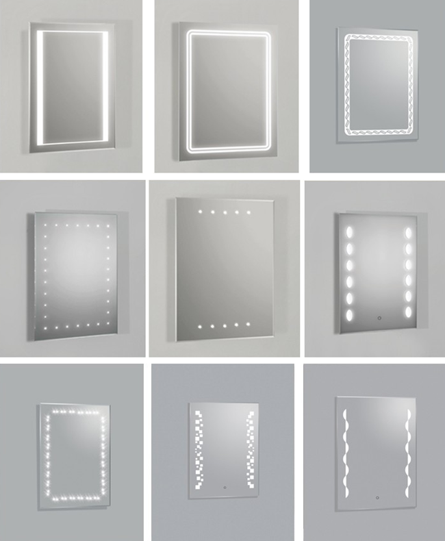 LED light mirror designs