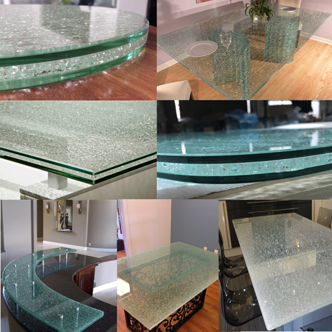 China cracked laminated glass table manufacturer