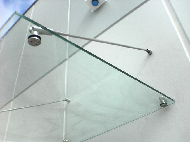 10mm clear toughened glass platform awning