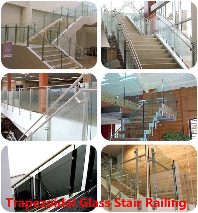 Trapezoidal safety stair railing glass manufacturer China