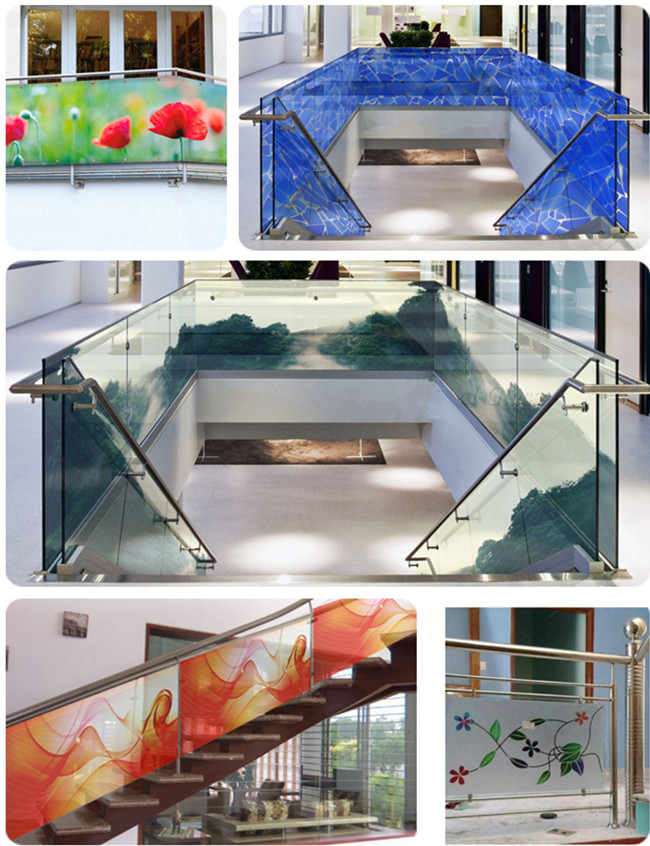 digital printed glass railing