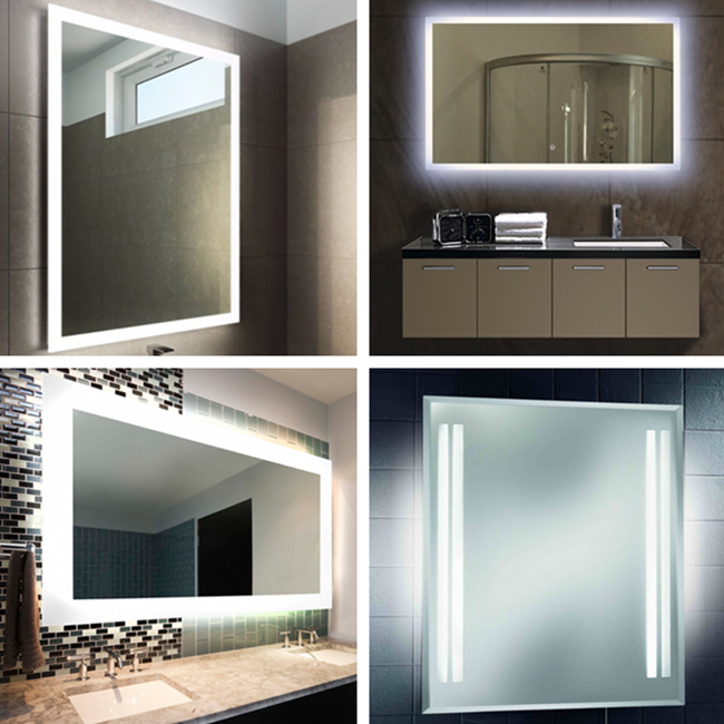 large rectangular bathroom wall mounted lighted vanity mirrors