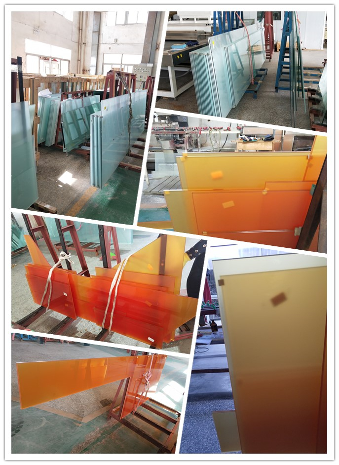 High performance and CE standard acid etched frosted satin colored pvb tempered laminated glass for decorative effects