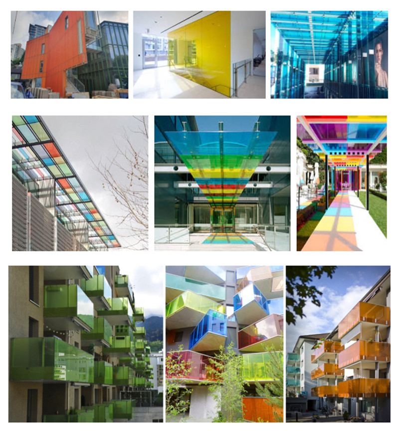 colored pvb laminated glass application