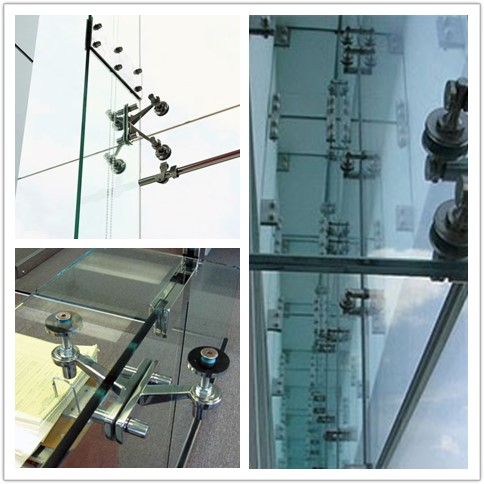 China factory spider glass facade system, glass curtain wall spider facade, laminated glass facade glazing spider