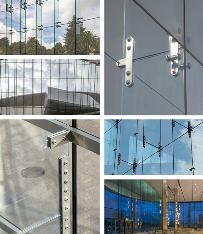 point-supported structural glass fins systems