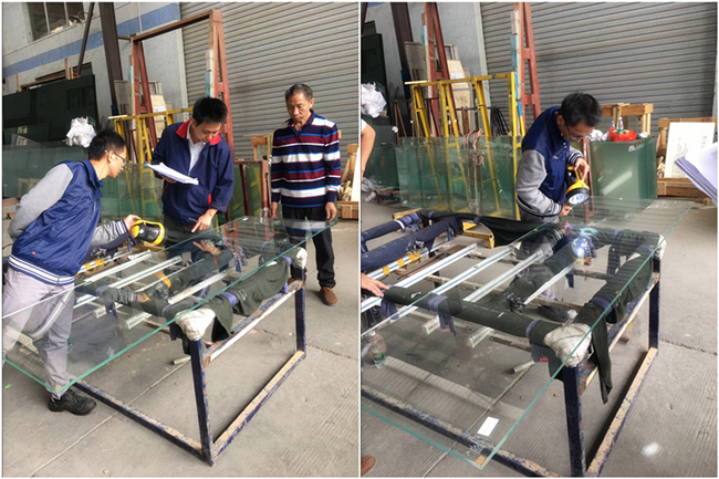 Inspection on tempered glass greenhouse roof