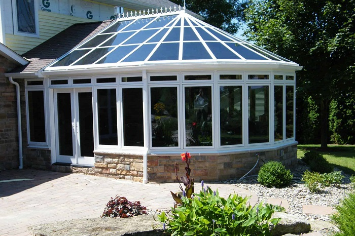 reflective glass sunroom