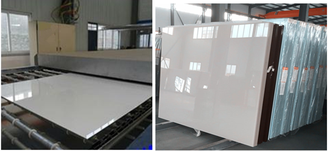 white painted glass producing and warehouse