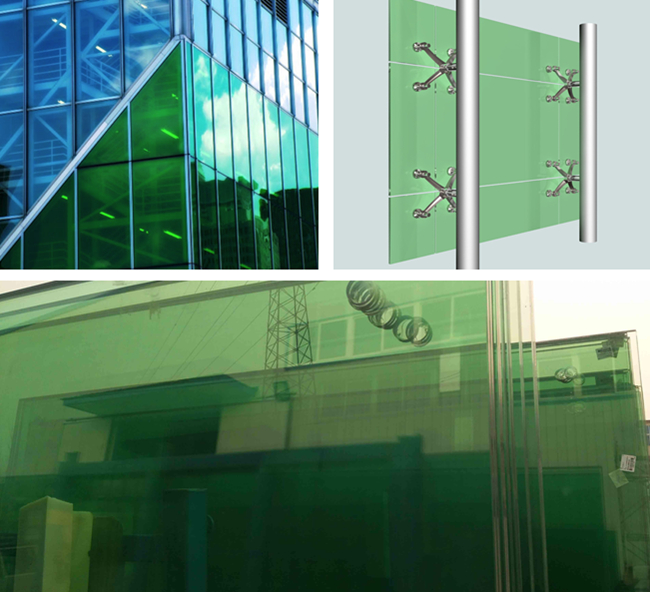 8mm thick green color security tempered glass