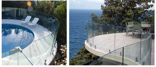 10mm toughened frameless balustrade curved glass