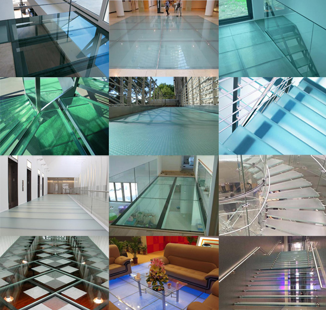 Skid resistance safety glass for floors