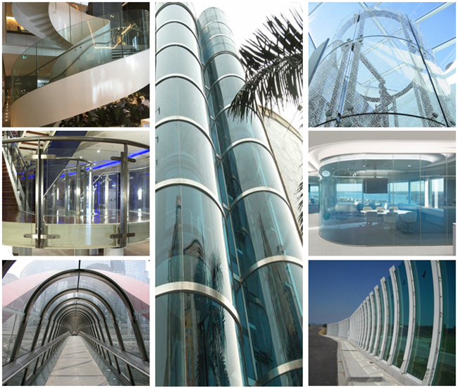 21.52mm clear curved toughened laminated glass‎ application