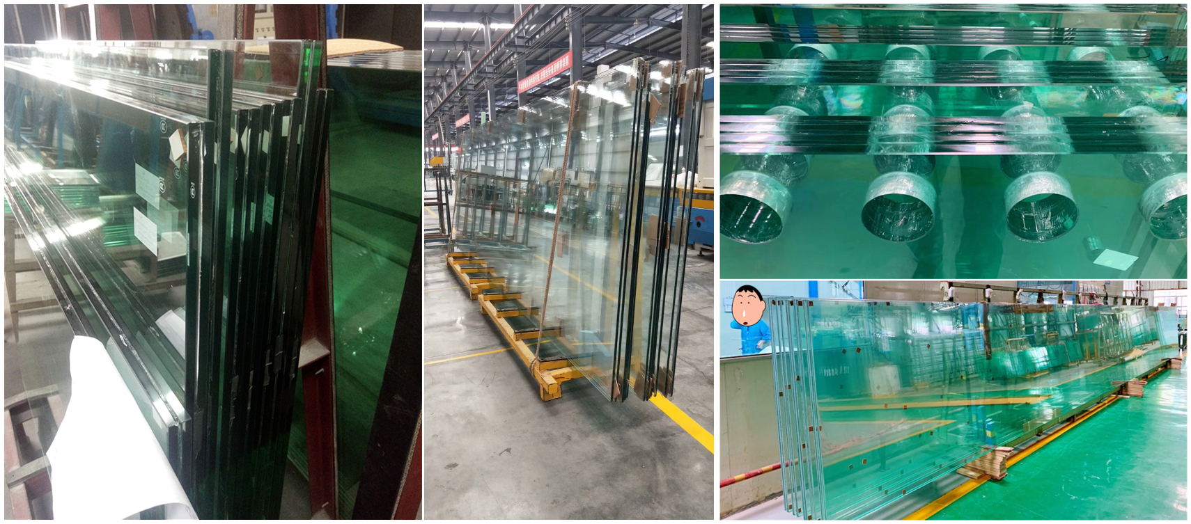 Facade tempered laminated glass for store