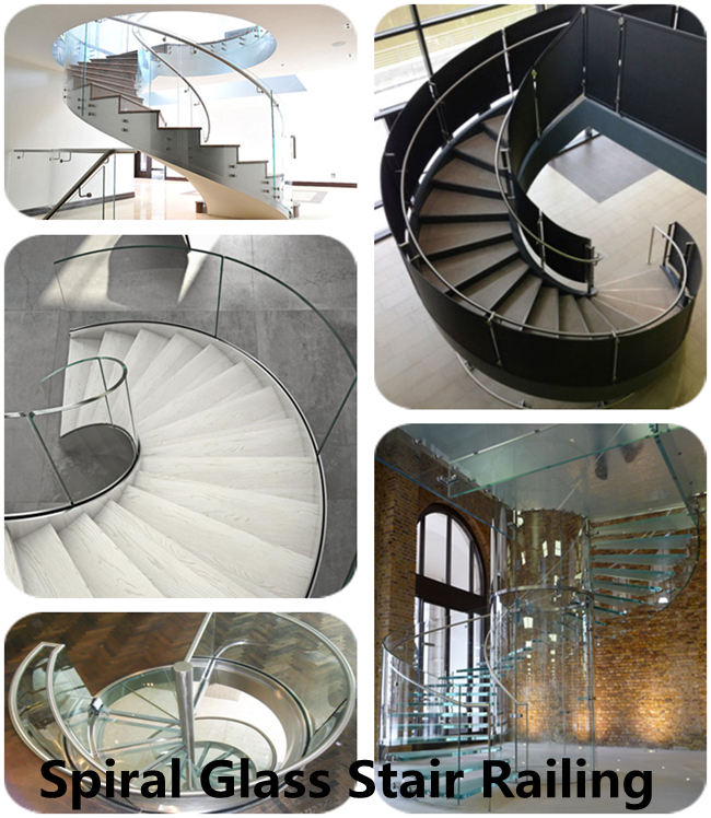 spiral stair curved safety laminated glass price