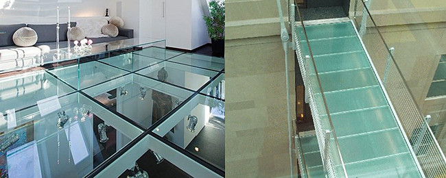 safety transparent and translucent glass floor