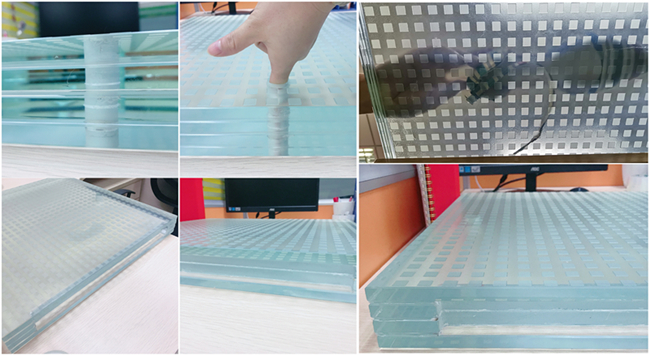 48mm acid etched ultra clear SGP tempered laminated glass