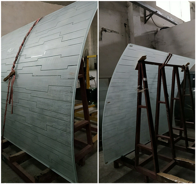 low iron painted curved laminated glass