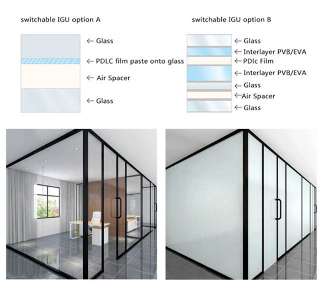 insulated smart PDLC film smart glass