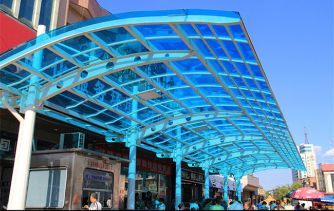 blue colored tempered laminated glass for canopy