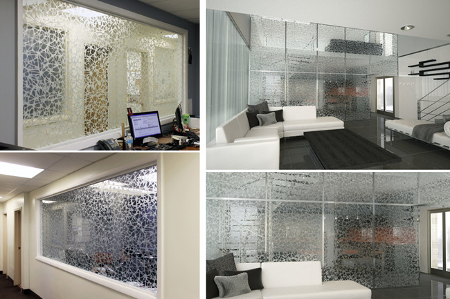 acid etched bird nest pattern glass wall