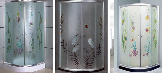 8mm decorative tempered glass shower enclosure
