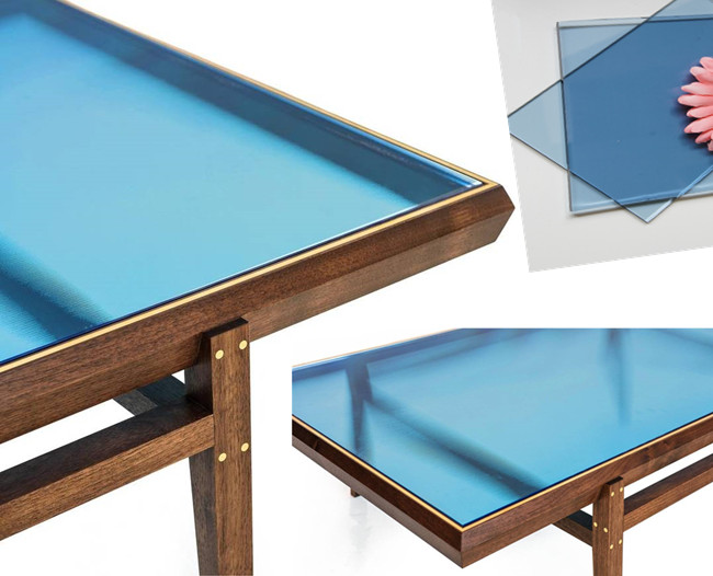 blue tempered glass table tops