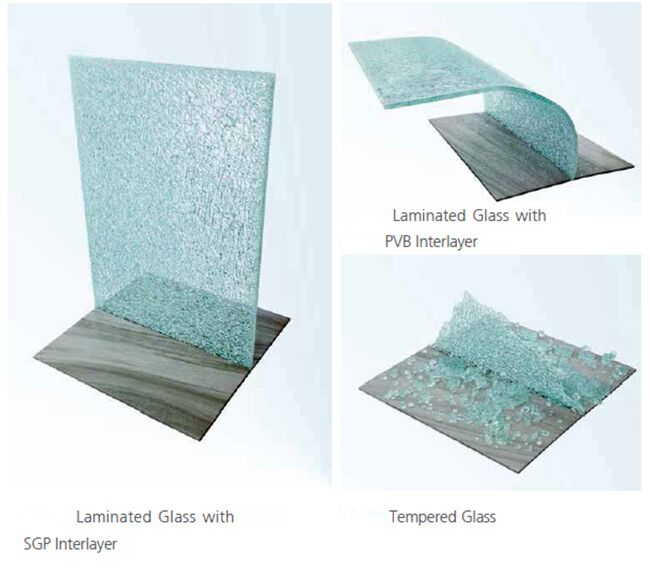 SGP laminated glass,PVB glass and tempered glass when been violent hit
